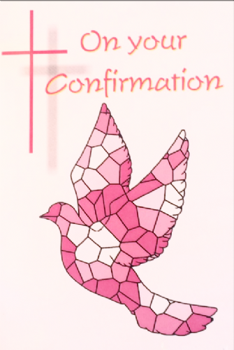 On your Confirmation (Pink mosaic dove)